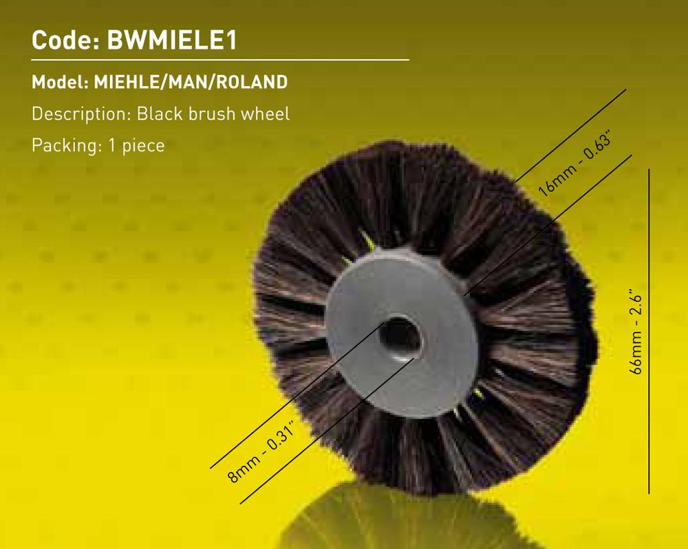 Brush Wheel Black - Miehle - MAN - Roland Dia.66mm