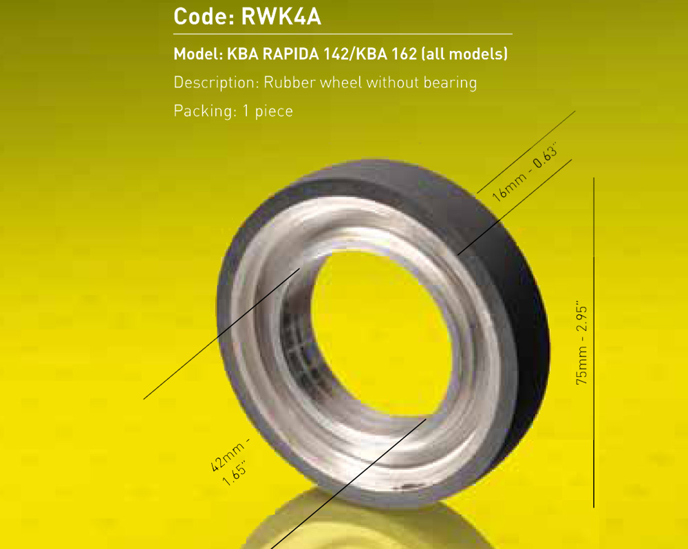Rubber Wheel For KBA Without Bearing Dia. 75mm